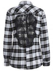 Skull Pattern Lace Spliced Plaid Shirt