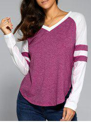 V Neck Arc-Shaped Hem T-Shirt