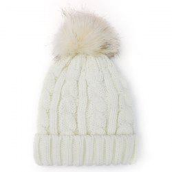 Winter Casual Fuzzy Ball Hemp Flowers Crochet Thicken Double-Deck Knit Beanie - WHITE