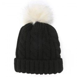 Winter Casual Fuzzy Ball Hemp Flowers Crochet Thicken Double-Deck Knit Beanie -