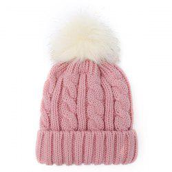 Winter Casual Fuzzy Ball Hemp Flowers Crochet Thicken Double-Deck Knit Beanie