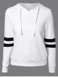 Long Sleeve Sports Color Block Hoodie - WHITE 2XL