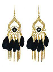 Vintage Water Drop Feather Earrings