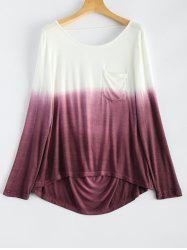 Backless Long Sleeve Ombre Color T-Shirt -