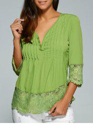 V Neck 3/4 Sleeve Lace Spliced Loose Blouse - GREEN