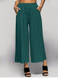 Elastic Waist Palazzo Pants with Pockets - GREEN