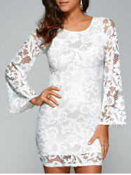 Round Neck Flare Sleeve Lace-Up Lace Sheath Dress - WHITE