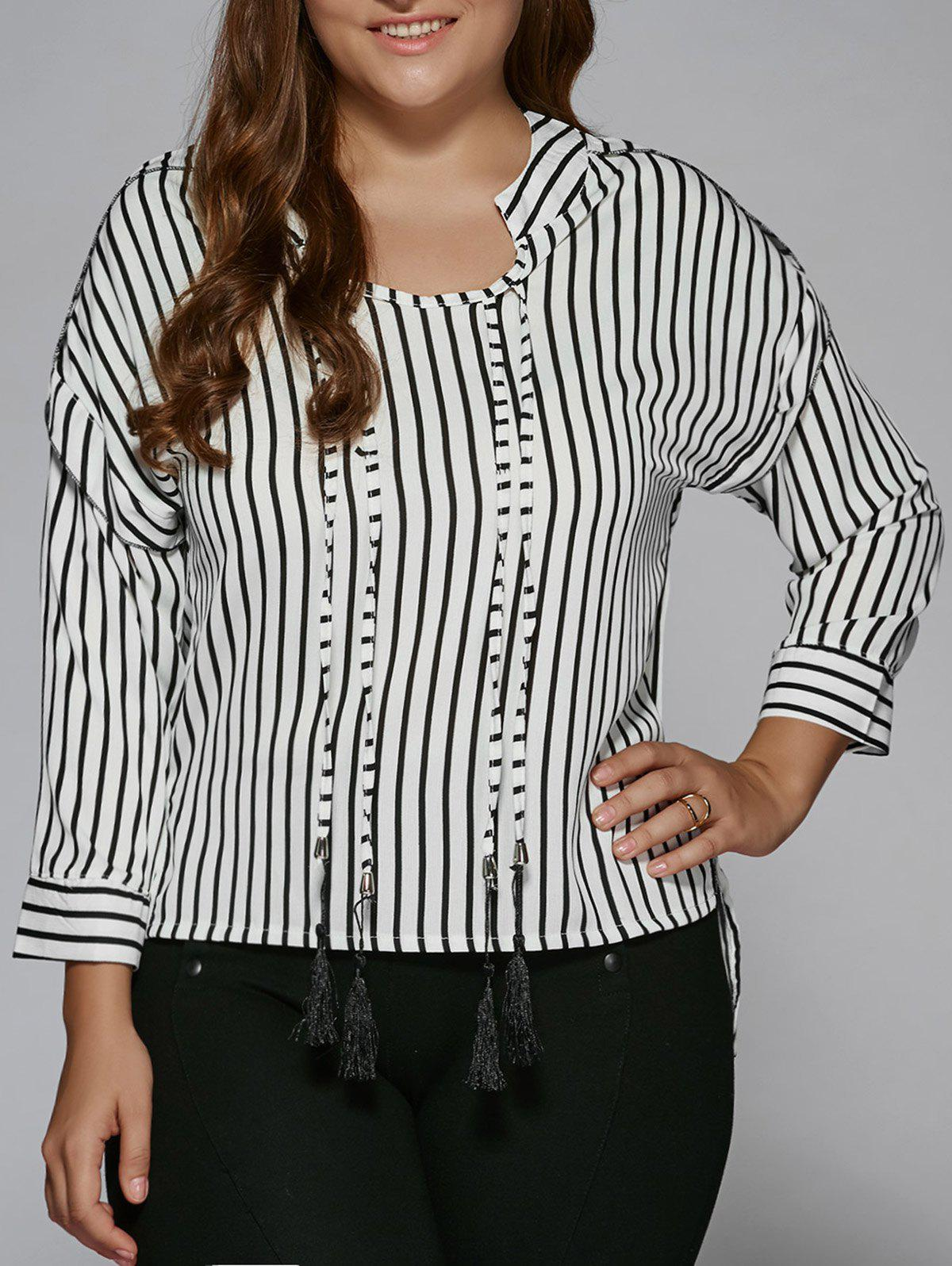 New Plus Size Tassel High Low Hem Striped Blouse