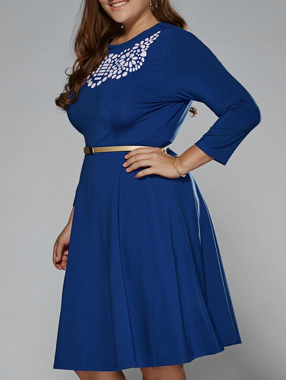 2019 Plus Size Printed Fit And Flare Modest Dress | Rosegal.com
