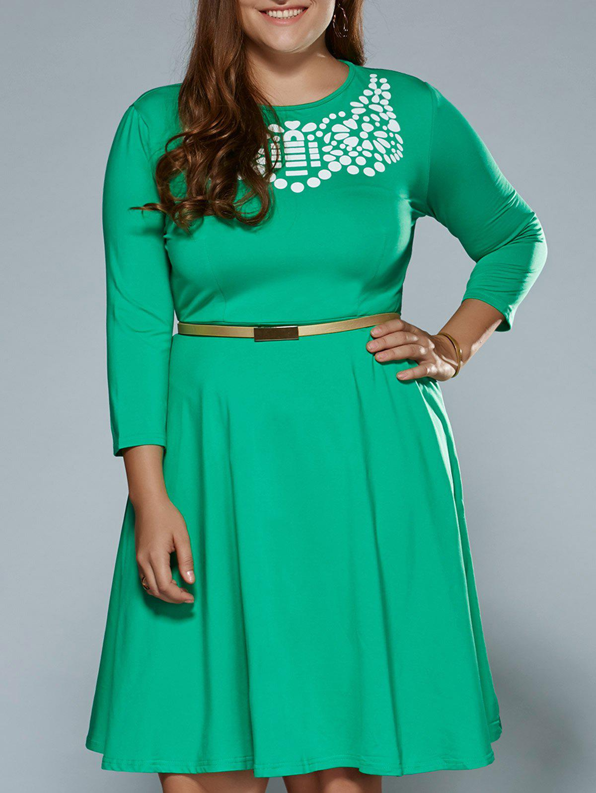 Plus Size Printed Fit and Flare Modest Dress