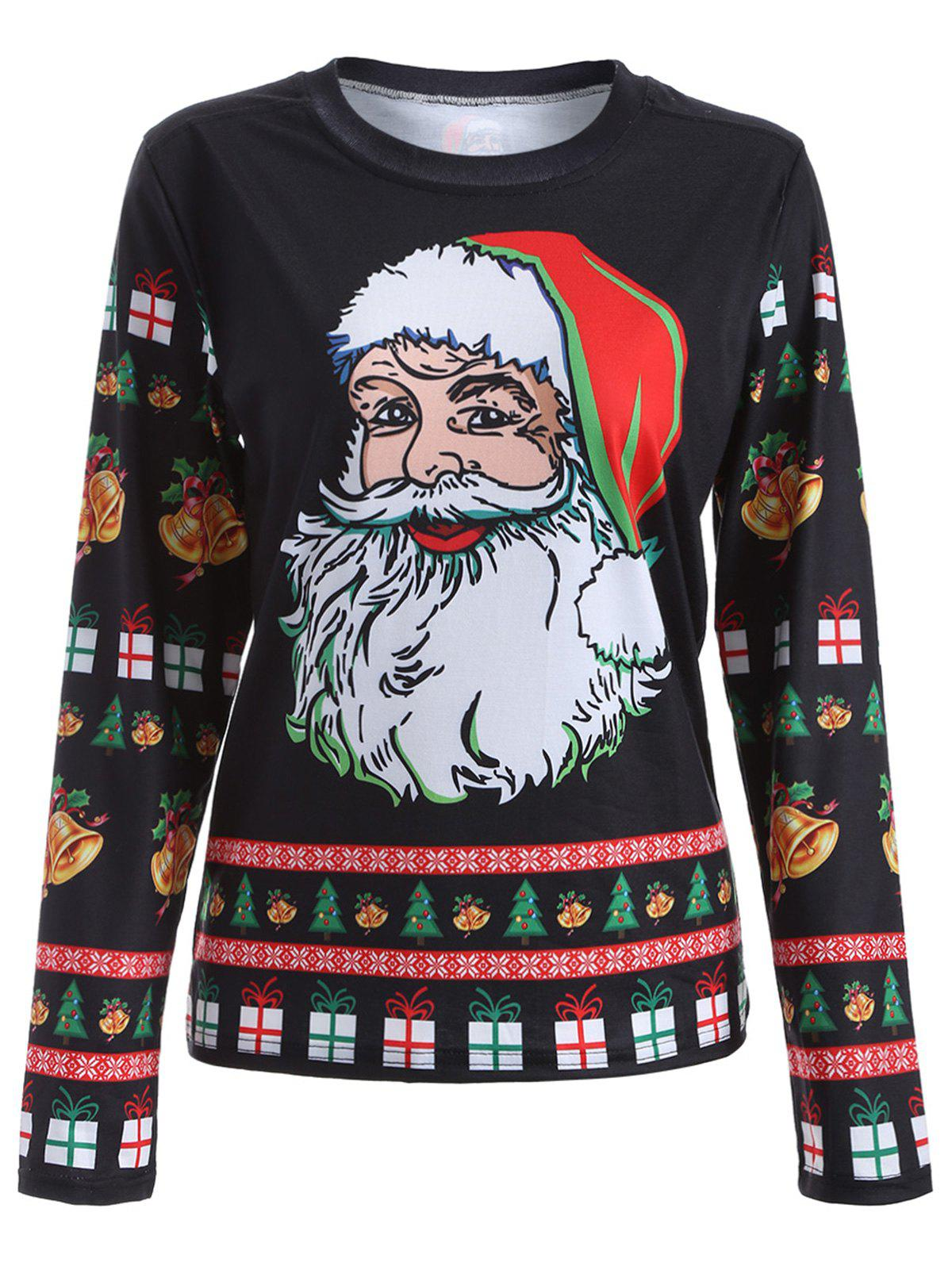 Cute Long Sleeve 3D Santa Claus Print Christmas T-ShirtWOMEN<br><br>Size: XL; Color: BLACK; Material: Polyester; Sleeve Length: Full; Collar: Round Neck; Style: Fashion; Embellishment: 3D Print; Pattern Type: Print; Season: Fall,Spring; Weight: 0.320kg; Package Contents: 1 x T-Shirt;