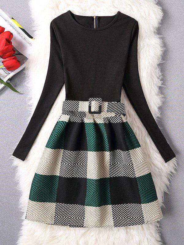 Geometric Checked A-Line DressWOMEN<br><br>Size: S; Color: GREEN; Style: Casual; Material: Polyester; Silhouette: A-Line; Dresses Length: Mini; Neckline: Round Collar; Sleeve Length: Long Sleeves; Pattern Type: Plaid; With Belt: Yes; Season: Fall; Weight: 0.419kg; Package Contents: 1 x Dress  1 x Belt;