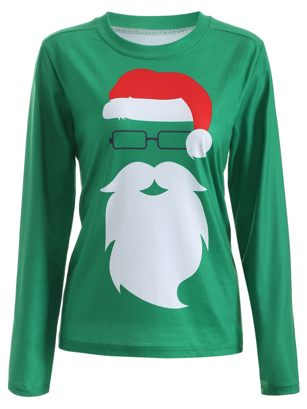 Santa Claus Graphic Christmas Long Sleeve T-ShirtWOMEN<br><br>Size: XL; Color: GREEN; Material: Polyester; Sleeve Length: Full; Collar: Round Neck; Style: Fashion; Pattern Type: Print; Season: Fall,Spring; Weight: 0.320kg; Package Contents: 1 x T-Shirt;