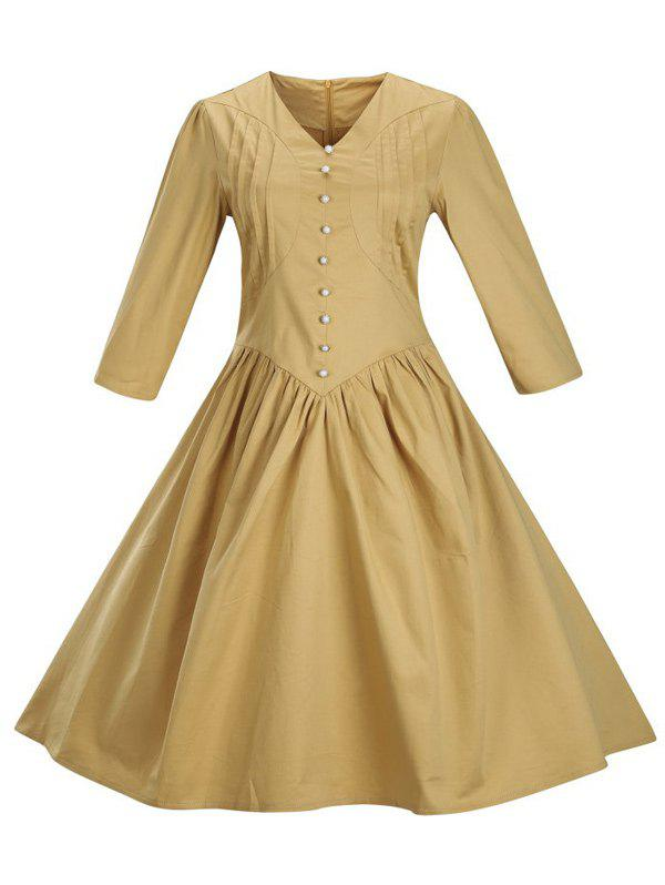 New Retro Front Button Flare Tea Length Swing Party Dress