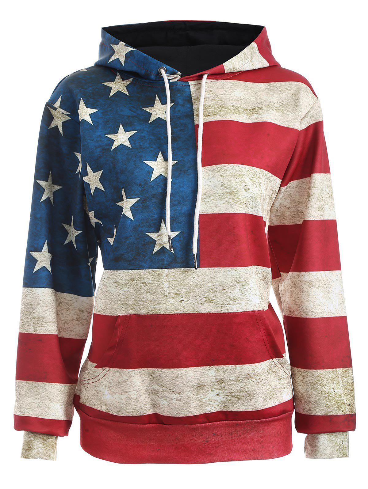 American Flag Print Pullover HoodieWOMEN<br><br>Size: XL; Color: BLUE AND RED; Material: Polyester; Shirt Length: Regular; Sleeve Length: Full; Style: Fashion; Pattern Style: Print; Season: Fall,Spring; Weight: 0.472kg; Package Contents: 1 x Hoodie;
