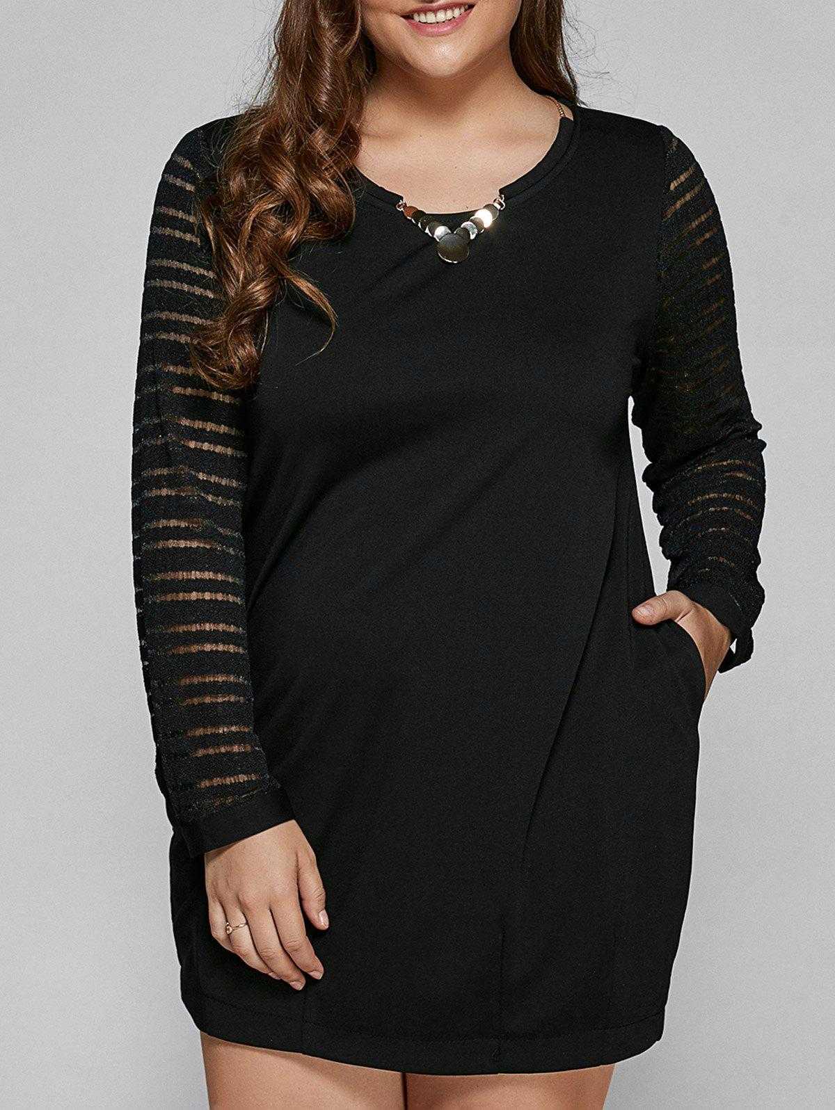 À manches longues en dentelle Spliced ​​Plus Size Dress