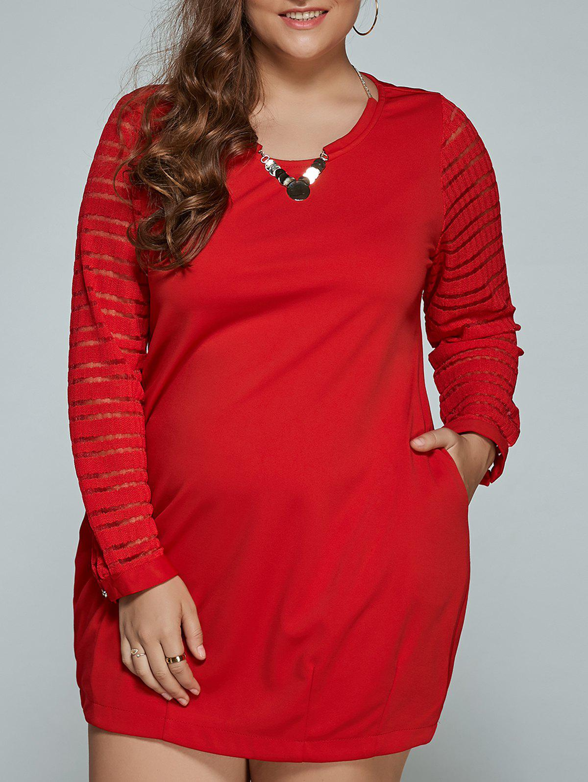 À manches longues en dentelle Spliced ​​Plus Size Dress Rouge L