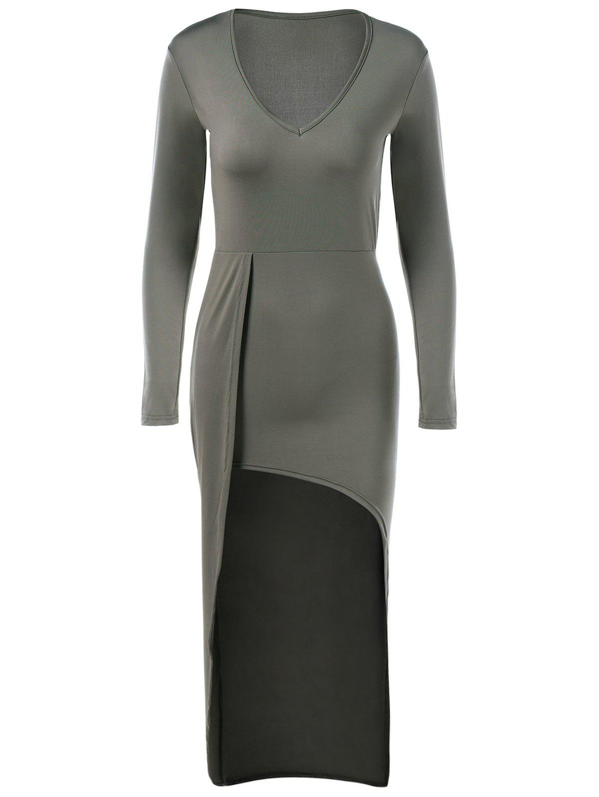 Affordable V-Neck Asymmetrical Sheath Long Sleeve High Low Slimming Dress