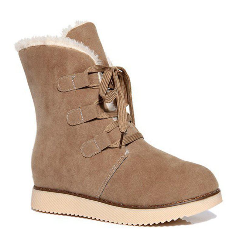 Fancy Suede Lace-Up Snow Boots