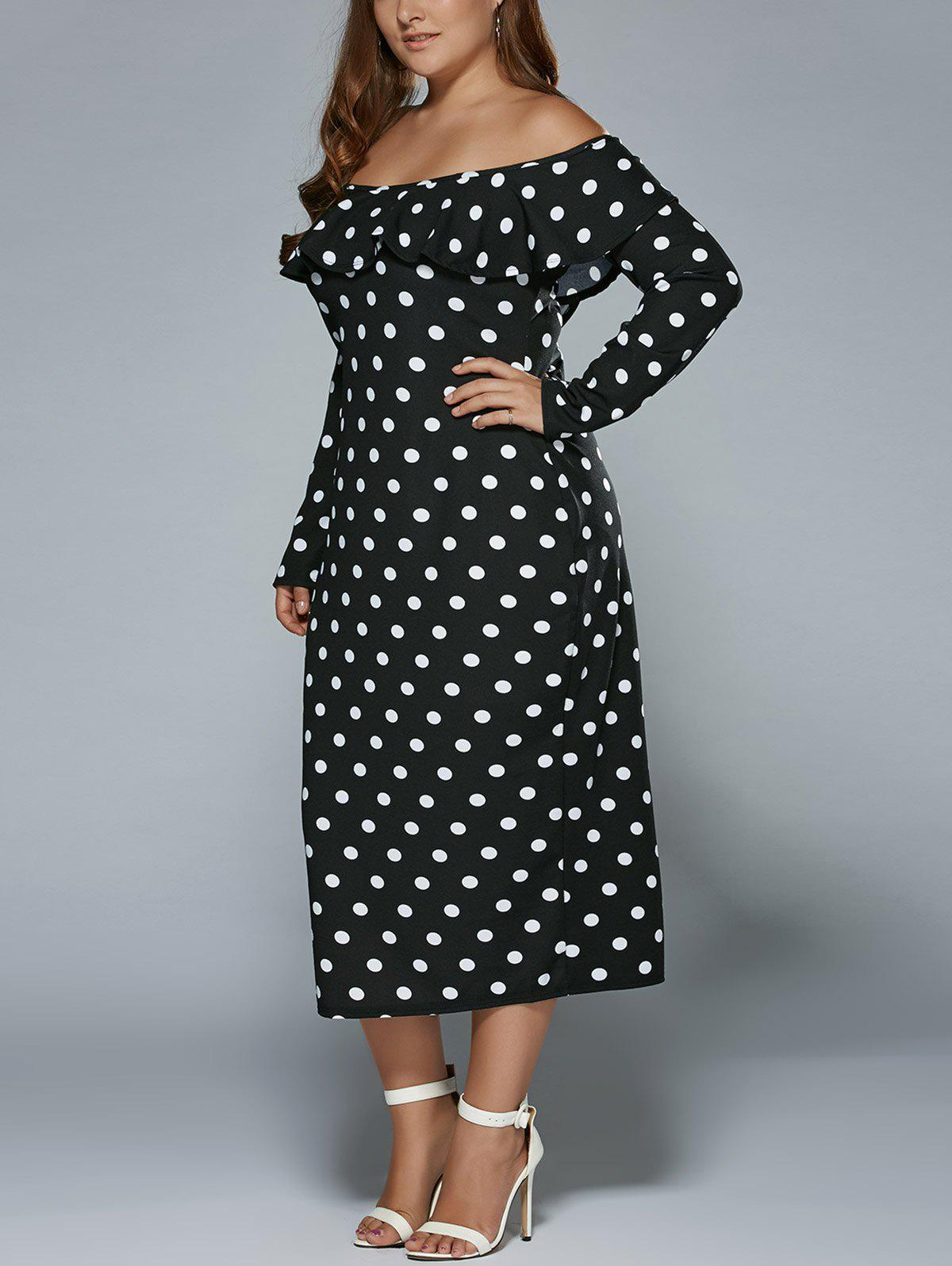 Plus Size Off Shoulder Long Sleeve Polka Dot Midi DressWOMEN<br><br>Size: 2XL; Color: BLACK; Style: Brief; Material: Polyester; Silhouette: Sheath; Dresses Length: Mid-Calf; Neckline: Off The Shoulder; Sleeve Length: Long Sleeves; Pattern Type: Polka Dot; With Belt: No; Season: Spring,Summer; Weight: 0.420kg; Package Contents: 1 x Dress;