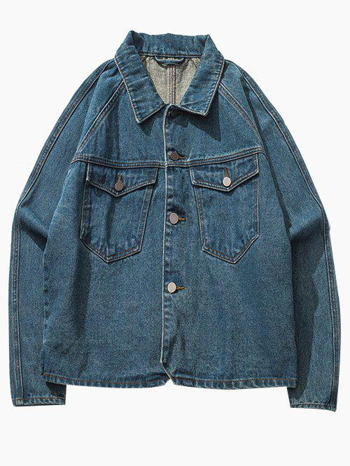Poche poitrine Bouton Raglan Sleeve Up Denim Jacket Bleu M