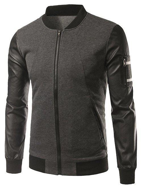 Faux cuir Insert manches Pocket Zip Up Jacket