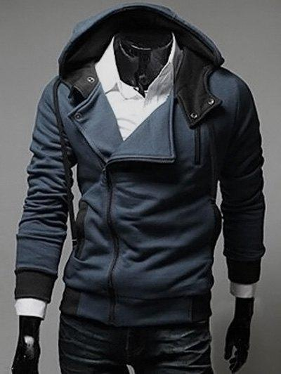 Latest Street Style Side Zipper Studs Long Sleeves Hoodies
