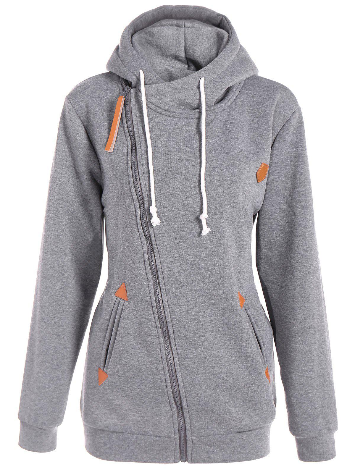 Inclined Zipper Drawstring Plus Size HoodieWOMEN<br><br>Size: XL; Color: GRAY; Material: Polyester; Shirt Length: Long; Sleeve Length: Full; Style: Casual; Pattern Style: Solid; Season: Fall,Spring; Weight: 0.500kg; Package Contents: 1 x Hoodie;