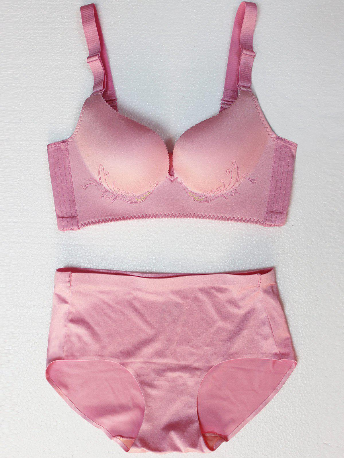 New Seamless Embroidered Wire Free Bra Set