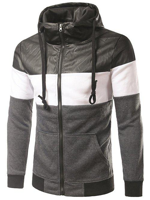 New PU-Leather Spliced Hooded Color Block Zip-Up Hoodie