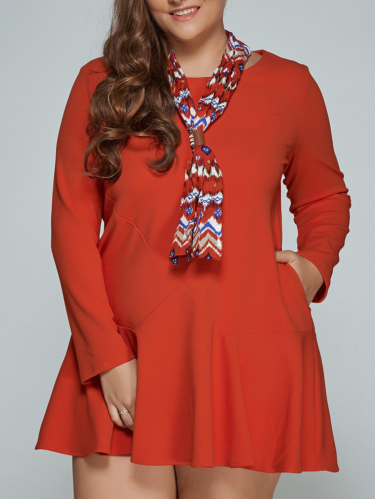 65% OFF] Mini Plus Size Long Sleeve Skater Dress | Rosegal