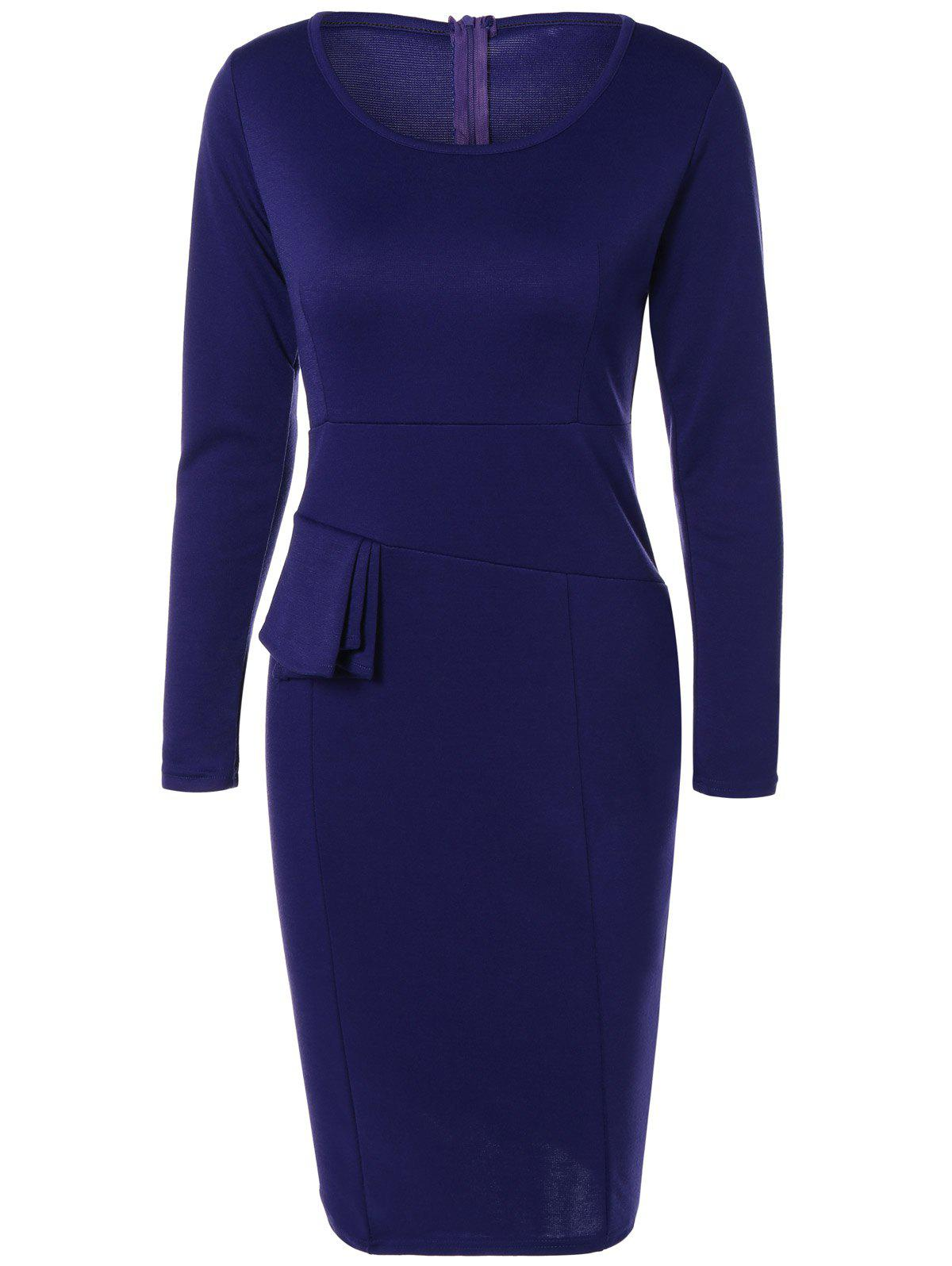 New Long Sleeve Knee Length Pencil Tight Dress