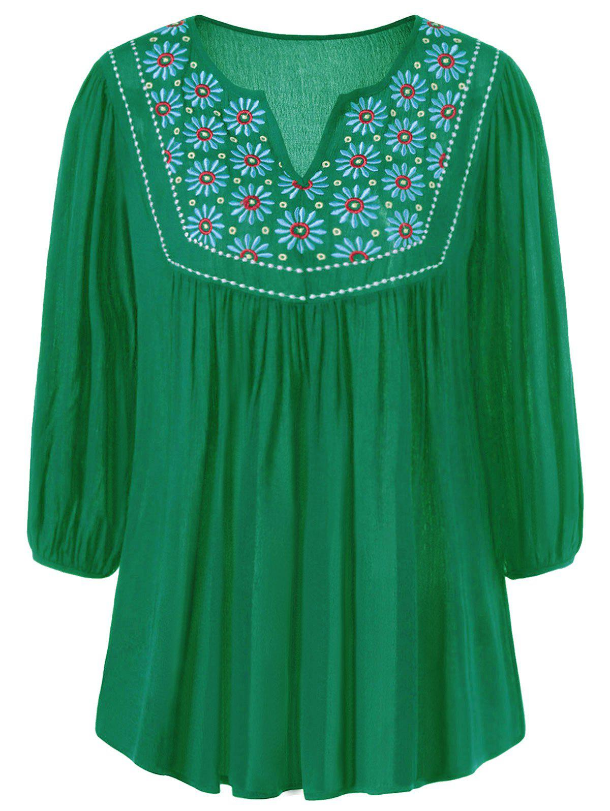 Shop Floral Embroidered Maxican Peasant Blouse