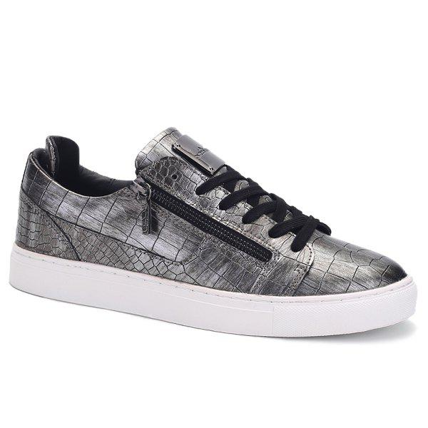 Buy Round Toe Zip Embellished Crocodile Embossed Casual Shoes