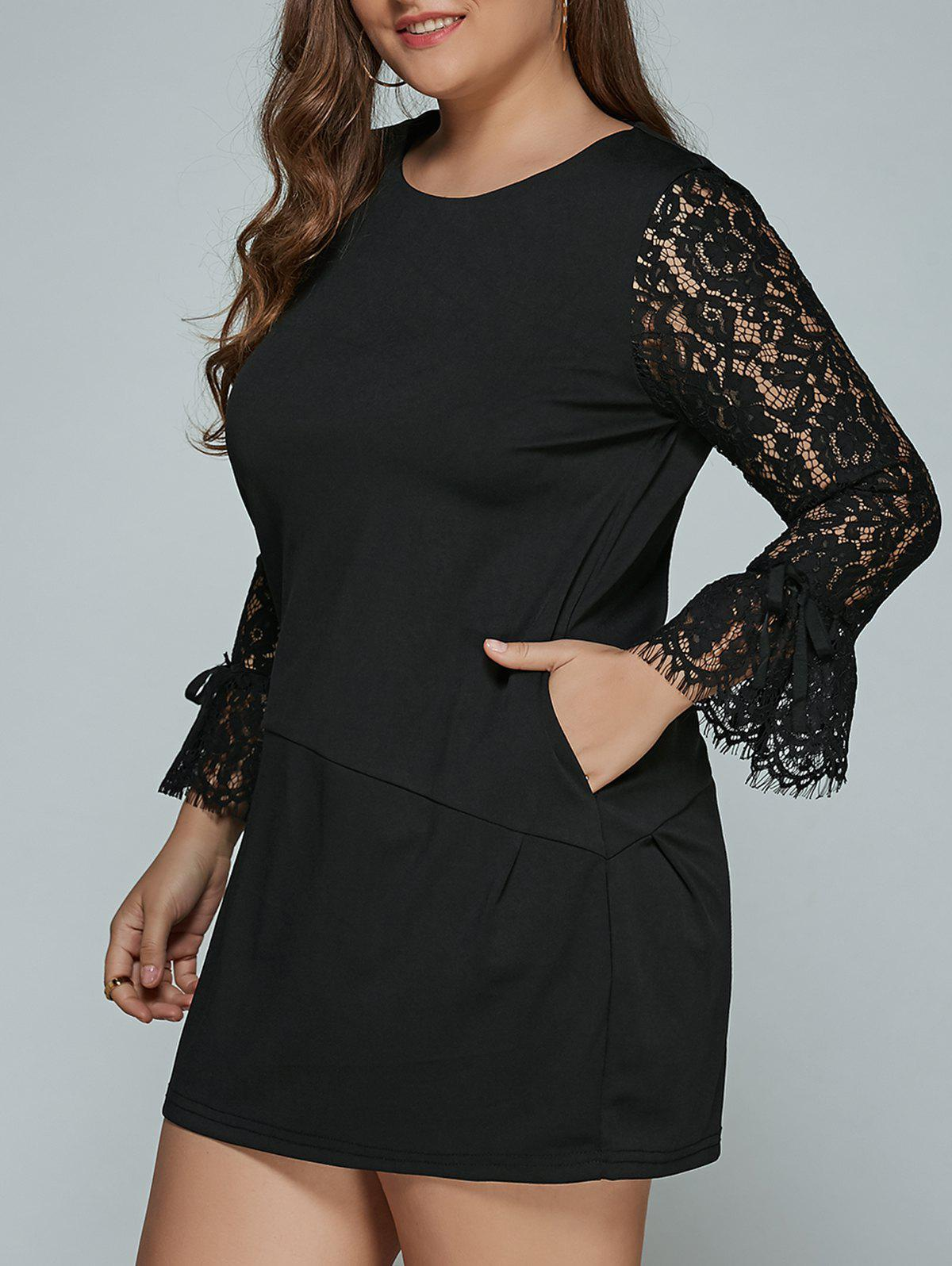 Cheap Lace Splicing Plus Size Mini Shift Dress