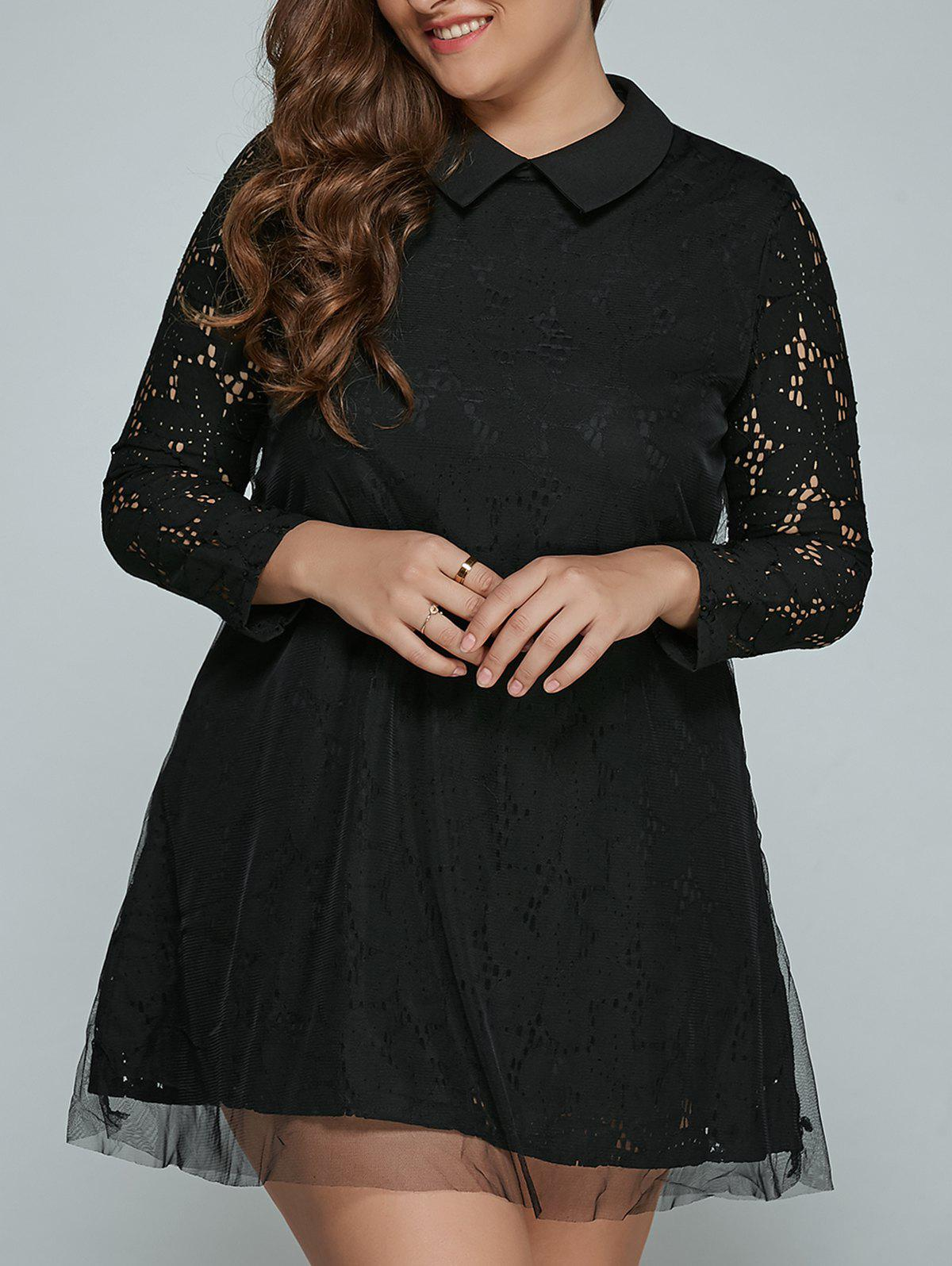Store Plus Size Mini Lace Long Sleeve Dress