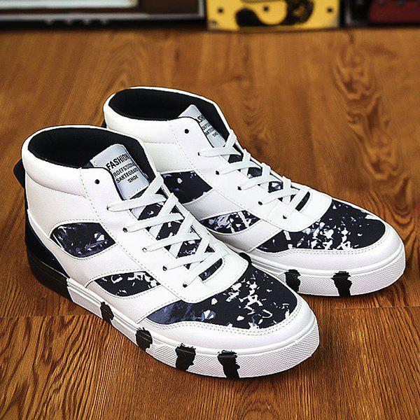 Fashion Tie Up Color Block Spliced High Top Skate Shoes