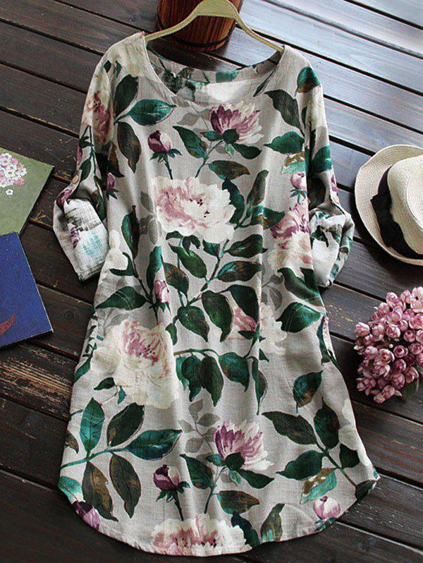 Fashion Linen Floral Printed Shirt Dress with Sleeves