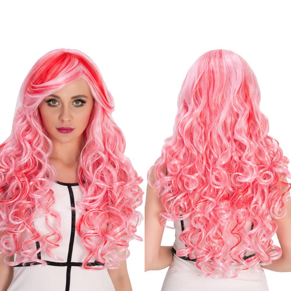 30 Off Red Mixed Pink Inclined Bang Shaggy Wavy Cosplay