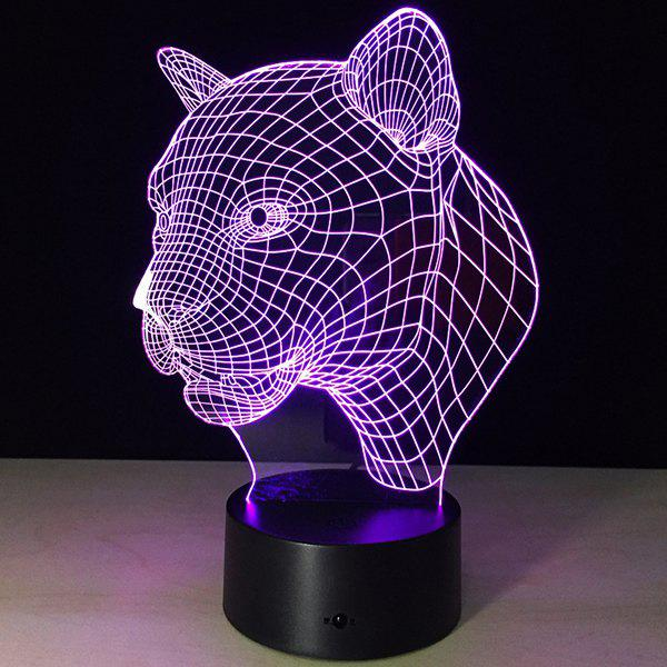 3D Christmas Leopard Head Shape Touch Colorful Night LightHOME<br><br>Color: TRANSPARENT; Style: Modern/Contemporary; Categories: Gifts set; Material: Other; Size(CM): 8.8*8.8*24CM; Weight: 0.396kg; Package Contents: 1 x Night Light;