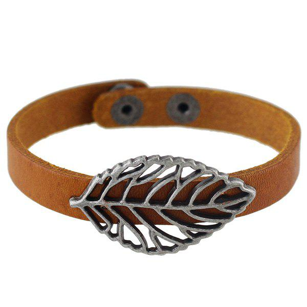 Fancy Filigree Leaf Faux Leather Bracelet
