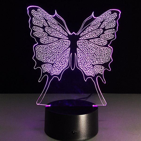 3D Festival Butterfly Shape Touch Colorful Night LightHOME<br><br>Color: TRANSPARENT; Style: Modern/Contemporary; Categories: Gifts set; Material: Other; Size(CM): 8.8*8.8*24CM; Weight: 0.396kg; Package Contents: 1 x Night Light;