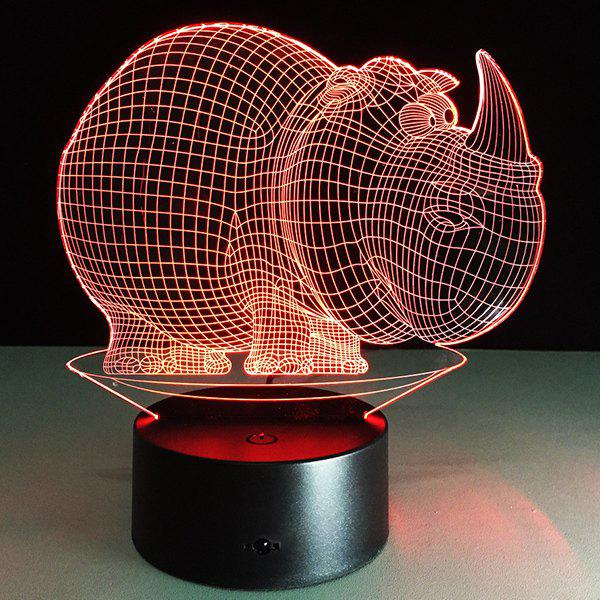 Store 3D Halloween Rhinoceros Shape Touch Colorful Night Light