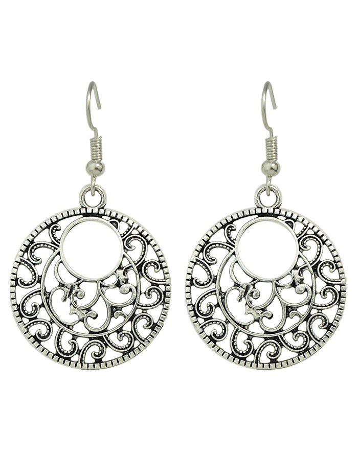 Round Filigree EarringsJEWELRY<br><br>Color: SILVER; Earring Type: Drop Earrings; Gender: For Women; Style: Classic; Shape/Pattern: Round; Weight: 0.030kg; Package Contents: 1 x Earrings(Pair);