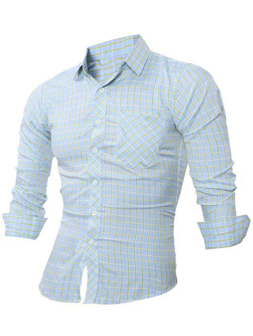 Online Slim-Fit Long Sleeve Plaid Pocket Shirt