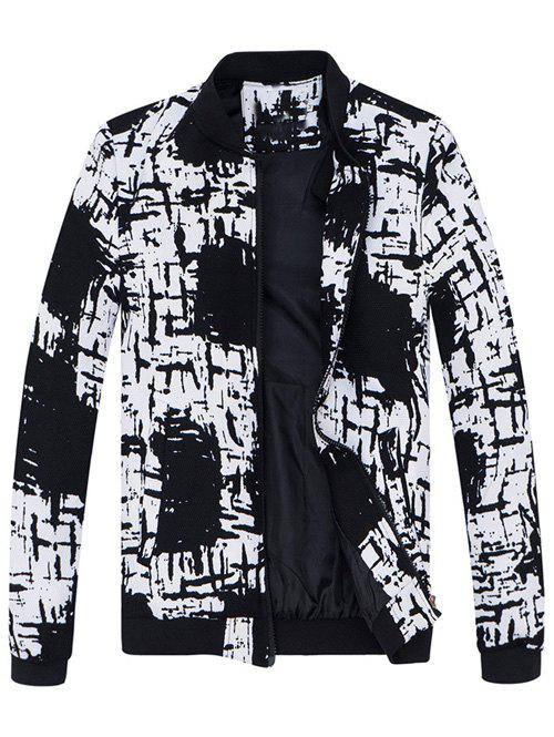 Pied de col All-Over Abstract Print Jacket