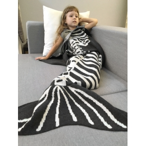 Super Soft Knitted Fishbone Kids Wrap Halloween Mermaid Blanket and Throws
