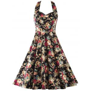 Halter Neck Open Back Floral Print Dress
