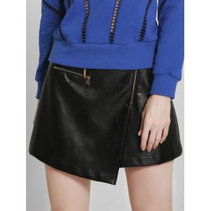 Asymmetric PU Leather A-Line Skirt