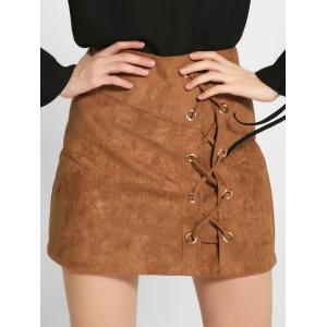 Lace-Up Faux Suede A-Line Skirt - Khaki - M